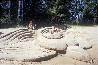 A sand sculpture on Madeline Island.