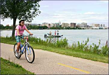 Bicycling along Madison's Lake Monona.