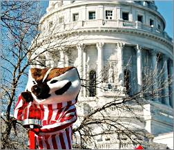Bucky the Badger at the State Capitol.