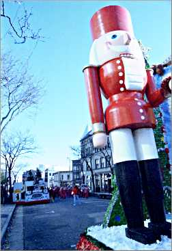 A nutcracker in a holiday parade in Madison.