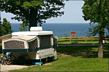 A campsite at Orchard Beach State Park.