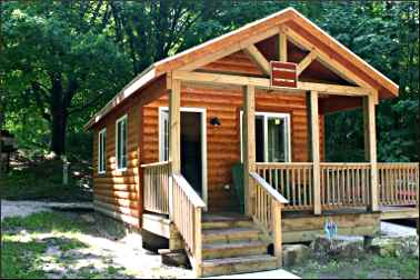 A camper cabin in Orchard Beach State Park.