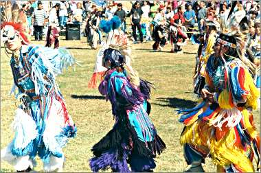 Dancers compete at the powwow in Mankato.