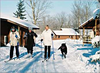 Chicago guests ski at Maplelag with Lucky the dog.