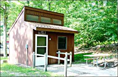 A mini-cabin at Ludington State Park.