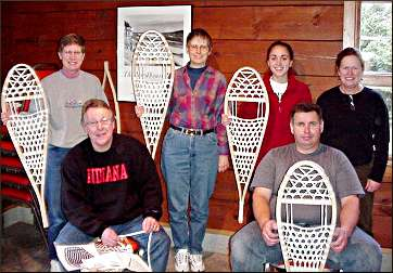 Members of a snowshoe-making class.