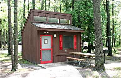 A mini-cabin in Traverse City State Park.