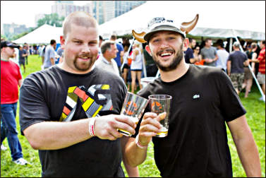 Revelers at a beer festival.