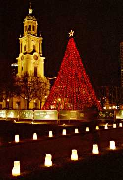 Cathedral Square at Christmas.