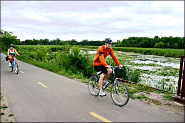 Bicyclist on the Dakota Rail Trail.