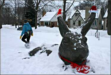 A rabbit sculpture on Minnehaha Parkway.