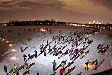 Skiers on the Luminary Loppet.