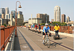 Bicycling on the Stone Arch Bridge.