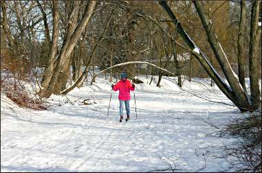 Skiing on Minnehaha Creek.