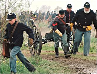 Re-enactors stage a battle in Missouri.