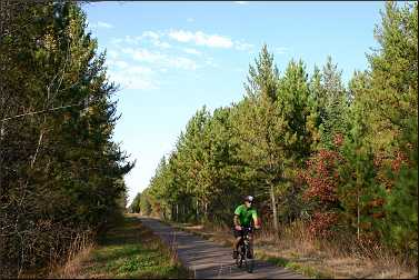 A bicyclist on the Munger State Trail.