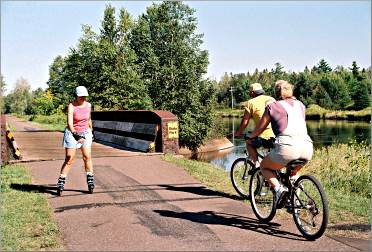 Skaters and bicyclists use the Munger State Trail.