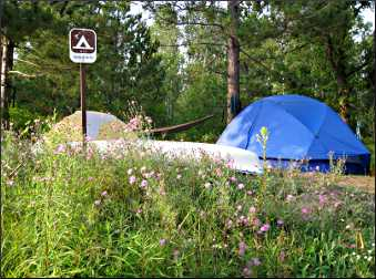 A group campsite on the Namekagon River.