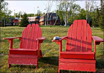 Adirondack chairs at Naniboujou.