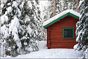 A cabin at National Forest Lodge.