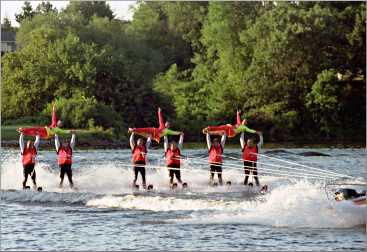 Water skiers perform in New London.