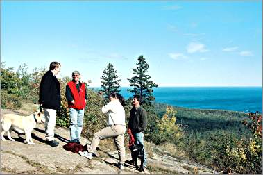 Hikers enjoy a vista on the Superior Hiking Trail.