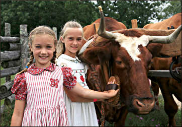 Girls dress as Laura at Old World Wisconsin.