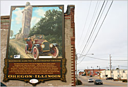A Lincoln Highway mural in Oregon.