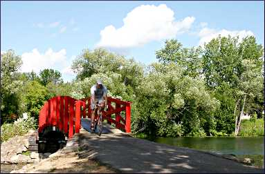 The red bridge in Park Rapids.