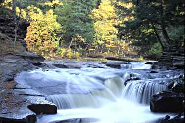 A waterfall on the Presque Isle River in the Porcupines.