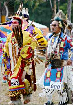 Men dance at the Upper Sioux wacipi near Granite Falls.