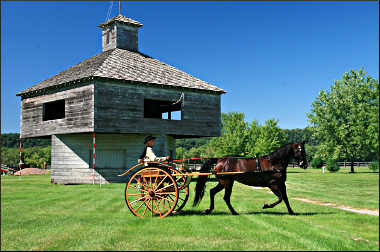 A horse-drawn buggy at Villa Louis.