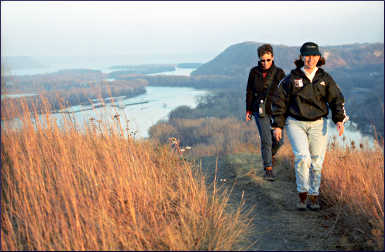 Hikers on Barn Bluff.