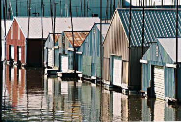 Boathouses in Red Wing.