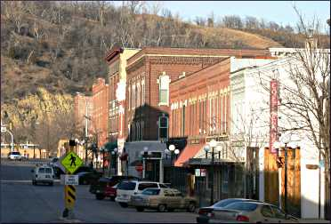 Downtown Red Wing at the base of Barn Bluff.