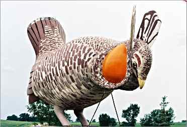 A giant fiberglass prairie chicken stands near Rothsay, Minn