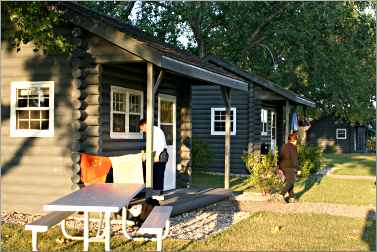 Camper cabins in South Dakota's Fort Sisseton State Park.