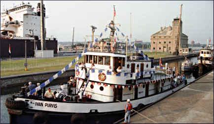 A tugboat in the Soo Locks.
