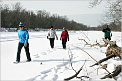 Snowshoeing on the St. Croix River.