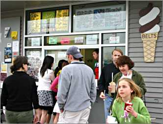 People cluster around Belt's Soft Serve in Stevens Point.