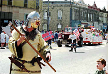 A Viking in a Stoughton parade.