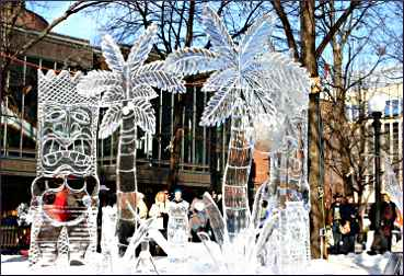 Ice sculptures in St. Paul's Rice Park.