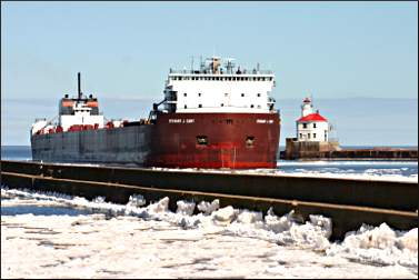 Freighter enters the Superior harbor.