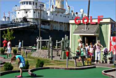 A miniature golf course is next to the Meteor.