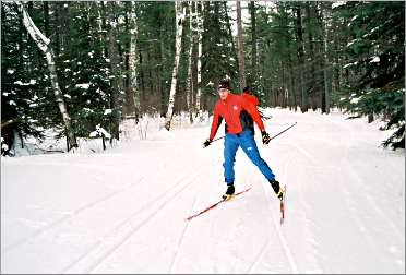 A skier whizzes through Superior Municipal Forest.