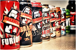 Cans of Surly beer.