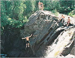 Cliff jumpers at Illgen Falls.