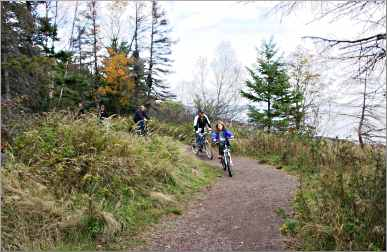 Bicyclists on the Sonju Trail in Two Harbors.