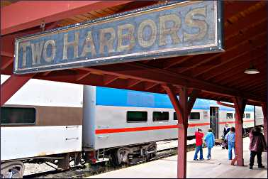 Passengers on the train from Two Harbors.