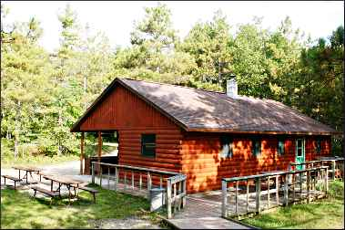A cabin in Point Beach State Forest.